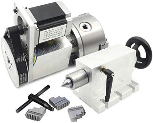 [スポンサー プロダクト]CNCルーター 第4軸 3爪チャック 80mm Nema23ステッパーモーターと3爪チャック付き CNC分割ヘッド 回転軸 K11-80mm+ 65mmテールストック (3爪 直径80mm K11-80)