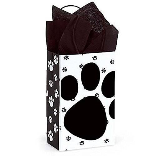 Pooch's Paws Paper Shopping Bags - Rose Size - 5 1/4 x 3 1/2 x 8 1/4in. - 150 Pack by NW