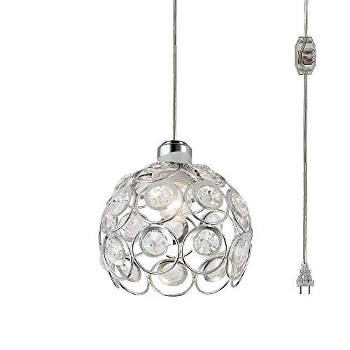 Kiven Plug-in Crystal Pendant Lamp Hollow Silver Shade Light Fixtures Mini Classic Chandelier with UL Listed On/Off Dimmer Switch Cord Bulb Not Included