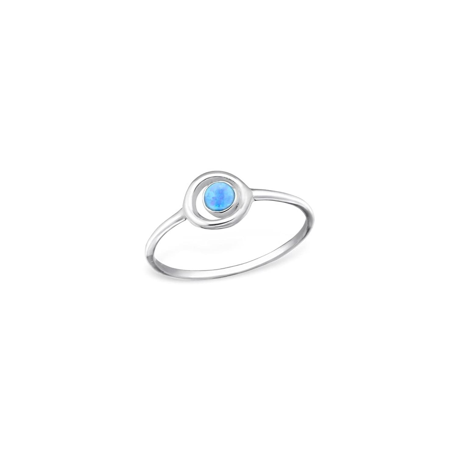 925 Sterling Silver Circle Jeweled Ring