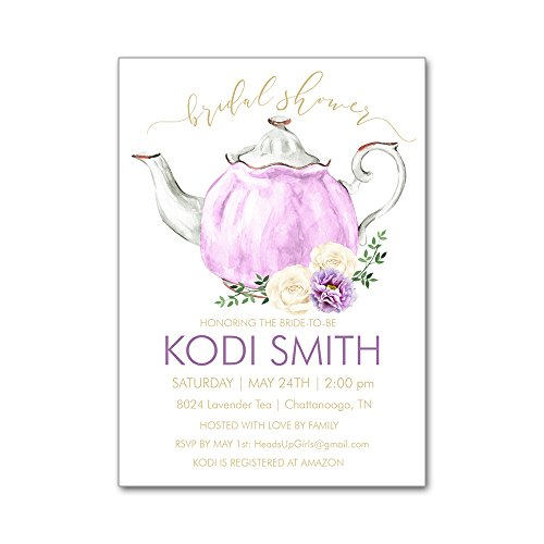 Set of 12 Personalized Bridal Wedding Shower Invitations and Envelopes with Tea Party Teapot in Lavender with Flowers NVB8024