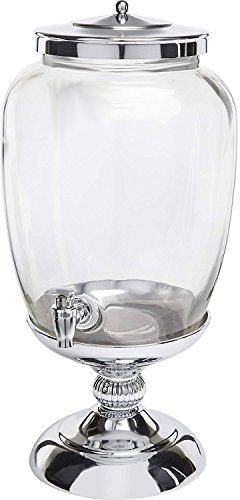 Circleware 68160 Celebrations Elegant Glass Beverage Dispenser with Silver Stand and Lid Entertainment Kitchen Glassware Pitcher for Water, Juice, Wine, Kombucha & Cold Drinks, 3.1 Gallon,