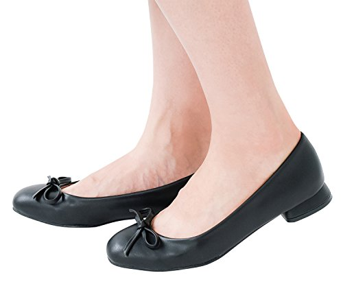AnnaKastle Womens Vegan Leather Classic Low Heel Pumps with Bow Daily Shoes UIJ0Il