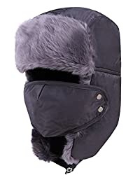 Geval Unisex Winter Faux Fur Lining Trapper Ski Hat Cap with Mask