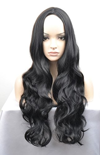 Amazon.com   Long Curly Wigs Womens Full Bangs Ombre Wigs Ladies Synthetic  Hair (Black)   Beauty 7aeb6e3c48