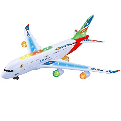 RaiFu 飛行機 モデル おもちゃ  サウンズ 点滅ライト& 現実的な エンジン 子供 電気 飛行機のおもちゃ シミュレーション 航空機 ジェット おもちゃ 360°回転 A380 飛行機 モデル おもちゃ