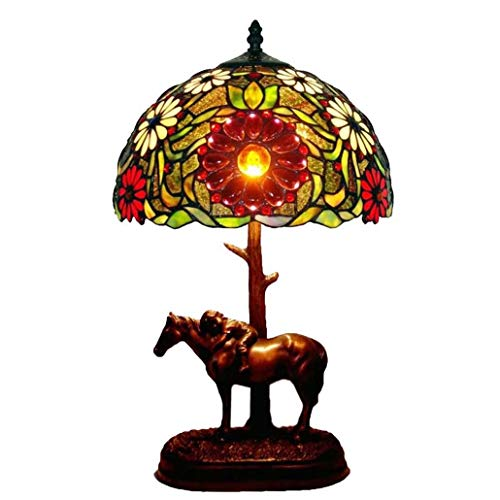 - Yd&h Tiffany Style Desk Light,12-inch Sun Flower Glass Decorative Table Lamp with Horse Resin Base, European Pastoral Desk Lamp Bar Cafe Study