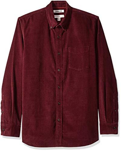 Goodthreads Men's Standard-Fit Long-Sleeve Corduroy Shirt, -burgundy, Medium