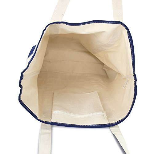 DALIX 22'' Extra Large Shopping Tote Bag w Outer Pocket in Navy Blue and Natural by DALIX (Image #5)