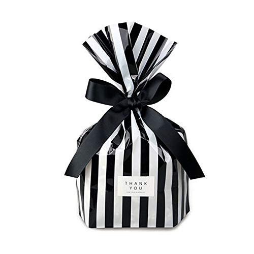YESON Black Stripe Clear Cello Bags Candy Plastic Party Favor cellophane Treat Bags,Pack of 100