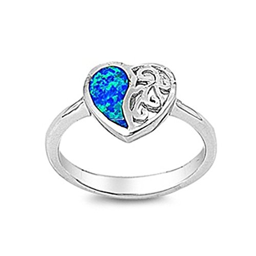 - Heart Promise Ring Lab Created Blue Opal 925 Sterling Silver