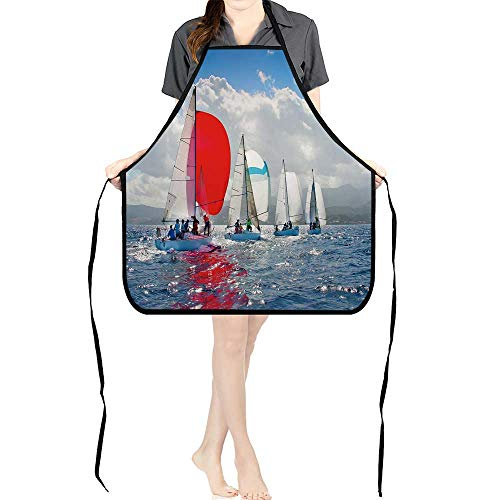 BBQ Apron J Sailing Regatta in Greece for Delicious Barbecue Grill KitchenK26.6xG27.6xB10.2 ()