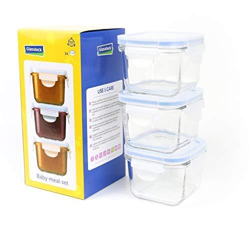Glasslock GL-544 Viereckige Frischhaltedose - Baby Set Typ, Glas, blau, 9 x 9 x 20 cm