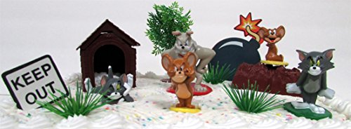 Tom and Jerry 8 Piece Cake Topper Set Featuring Tom Jerry Spike