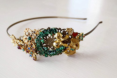 Christmas Wreath Headband - Christmas Gift - Gold and Green Headpiece - Christmas Tree Accessory - Christmas Stocking - Adult Holiday Headband - Gold Headband - Vintage Christmas Wedding by The Pearled Rose