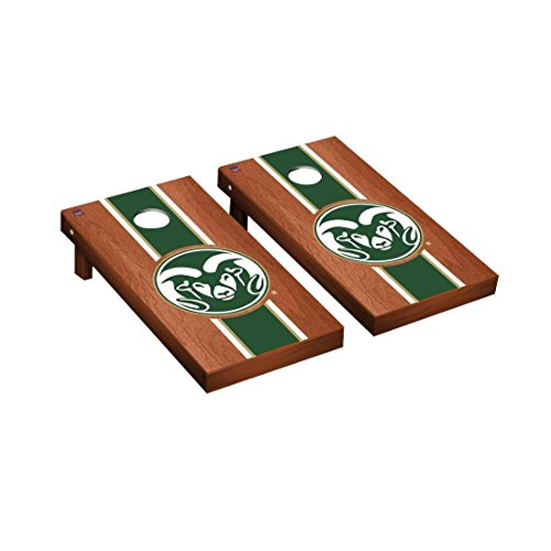Victory Tailgate Colorado State Rams Regulation Cornhole Game Set Rosewood Stained Stripe Version