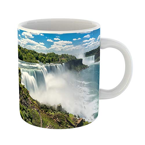 Emvency Coffee Tea Mug Gift 11 Ounces Funny Ceramic Blue Usa Niagara Falls Between United States of America and Canada Green Gifts For Family Friends Coworkers Boss Mug