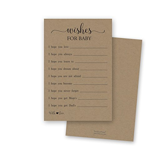 48 Rustic Kraft Wishes for Baby Cards – Well Wishes for Boy or Girl – Baby Wishes Cards