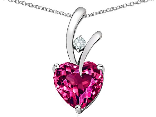Star K Heart Shaped 8mm Created Dark Pink Sapphire Endless Love Pendant Necklace Sterling Silver