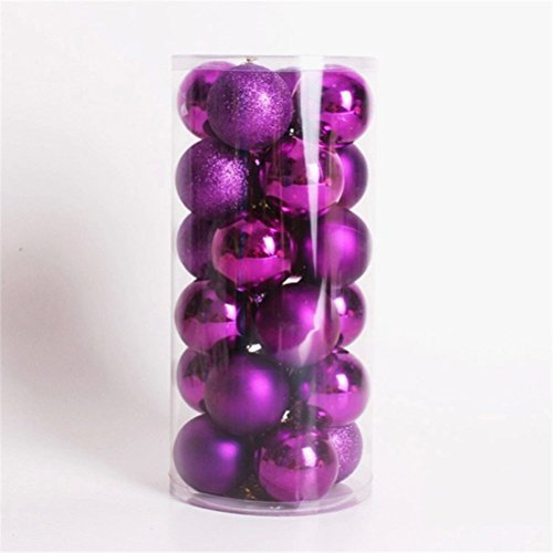 UEETEK 24pcs Shatterproof Glittering Christmas Balls Ornaments For Christmas Tree Holiday Xmas Garden Decorations(Purple)