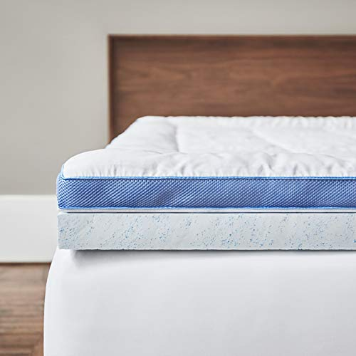 ViscoSoft Pillow Top Latex Mattress Topper Queen | American Made Cool Gel-Infused Latex | Responsive 3 Inch Pillow Top Gel Mattress Topper with Adjustable Plush Mattress Pad Cover