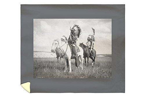 Lantern Press Sioux Indian Chiefs on Horseback - (Edward Curtis c. 1905) - Vintage Photograph 2912 (88x104 King Microfiber Duvet - Sioux Indian Pottery