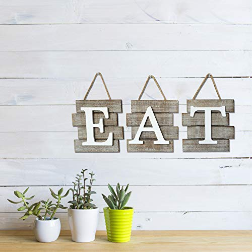 """Barnyard Designs Eat Sign Wall Decor for Kitchen and Home, Distressed Natural, Rustic Farmhouse Country Decorative Wall Art 24'' x 8"""" by Barnyard Designs (Image #1)"""