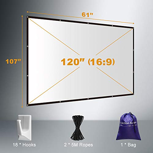 Yome 120 Inch Projector Screen, 16:9 HD Anti-Crease Indoor Outdoor Foldable Portable Movie Screen Support Double Sided Projection for Home Office Travel Party, 4K, 3D, White by Yome (Image #1)