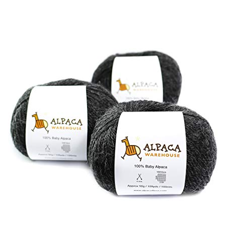 100% Baby Alpaca Yarn Wool Set of 3 Skeins Worsted Weight (Charcoal Gray)