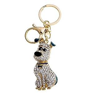 CHUANGLI Rhinestone Luxury Puppy Keychain Couple Pendent Crystal Dog Key Ring Decoration Gold