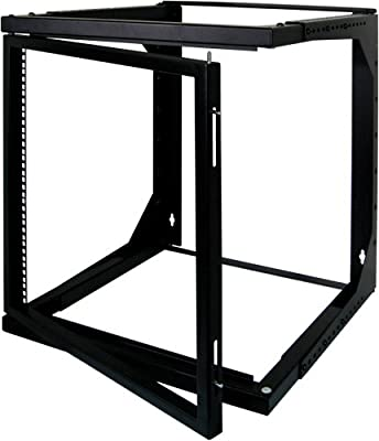 8U Open Wall Mount Frame Rack with Hinge from Vertical Cable