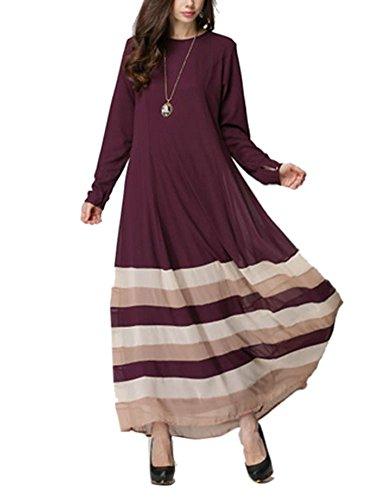 Camellia12 Women Casual Abaya Long Sleeve Kaftan Islamic Maxi Dress Plain Attire