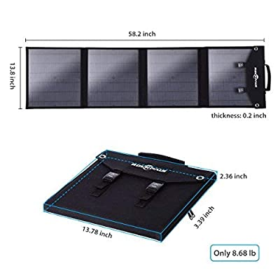 ROCKPALS Foldable 60W Solar Panel Charger for Suaoki/Jackery Explorer 240 / Webetop/Goal Zero Yeti/Paxcess Portable Power Station Generator and USB Devices, QC3.0 USB Ports: Electronics