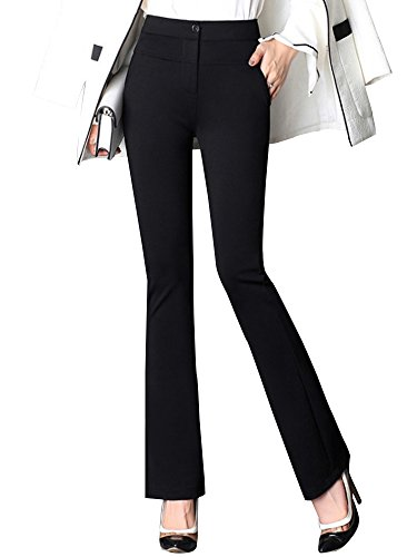 Women's Slimming High Waist Stretchy Flare Boot Cut Dress Pants Black Tag XL-US 6 by Gooket