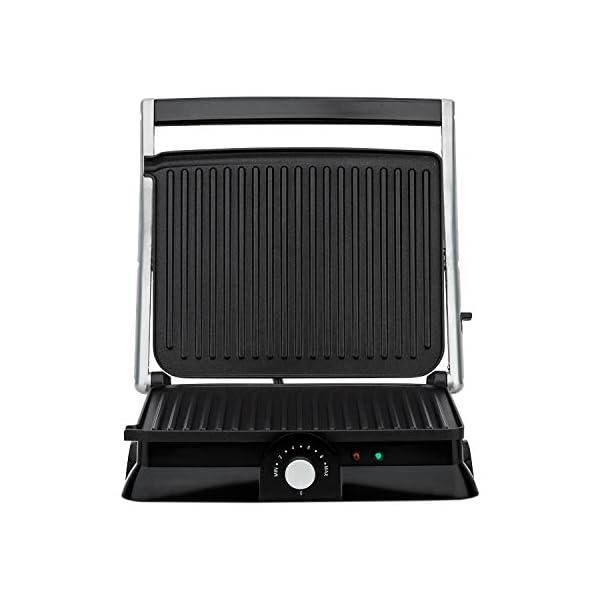 H.Koenig GR20 Bistecchiera/Panini Maker/Grill, Superficie di cottura 29,7x23cm, Acciaio Inox, 2000W 5