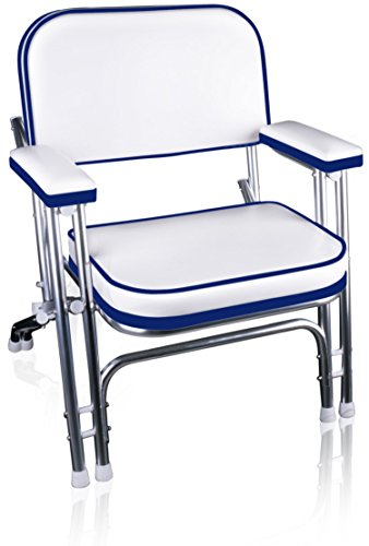 Leader Accessories Portable Folding Deck Chair Aluminum Frame Armrests(White/Blue)