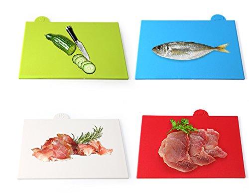 ideal para carne Juego de 4 tablas de cortar de alta calidad con soporte EVST compacto alimentos cocinados y espacio extra para cortar verduras pescado