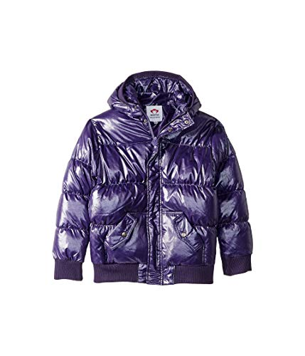 Appaman Kids Girl's Puffy Coat with Hood and Front Pockets (Toddler/Little Kids/Big Kids) Sparkle Purple 5 Little