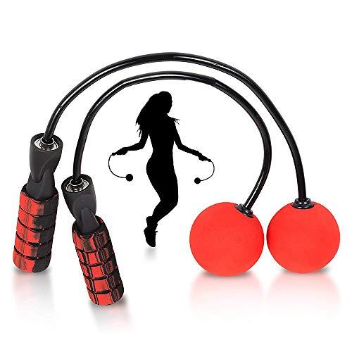Corda per saltare senza corda, con cuscinetti a sfera rapidi e morbida impugnatura in gommapiuma, regolabile, per uomini, donne, bambini