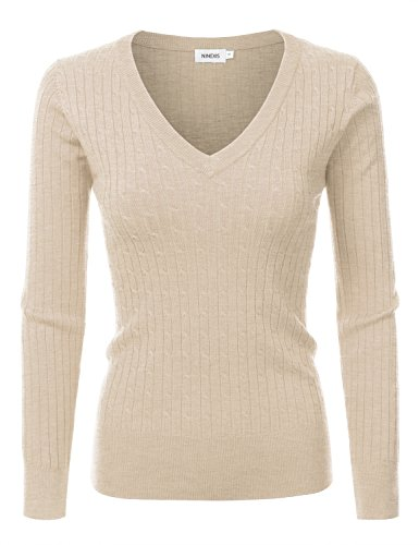 NINEXIS Womens Long Sleeve V-Neck Twisted Knit Sweater KHAKI XL (Womens V-neck Sweater)