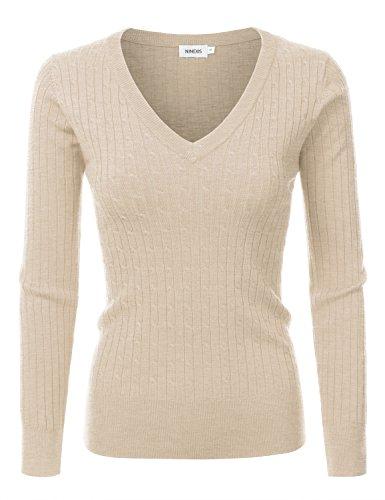 NINEXIS Womens Long Sleeve V-Neck Twisted Knit Sweater KHAKI XL (Womens Sweater V-neck)
