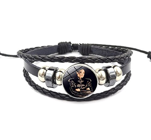 Michael Jackson The King of Pop Music Black Military Jacket Black Leather Bracelet.Amazing Gift for a Devoted Fan
