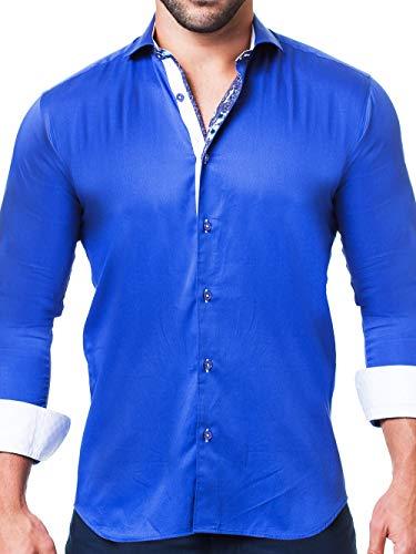 Maceoo Mens Designer Dress Shirt - Stylish & Trendy - Einstein Satin Navy - Tailored Fit (Dress Collar Shirt Cotton Italian)