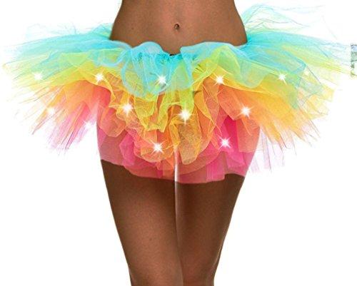 Simplicity Womens LED Light Tutu Skirt Dance Rave Tutu Skirt -
