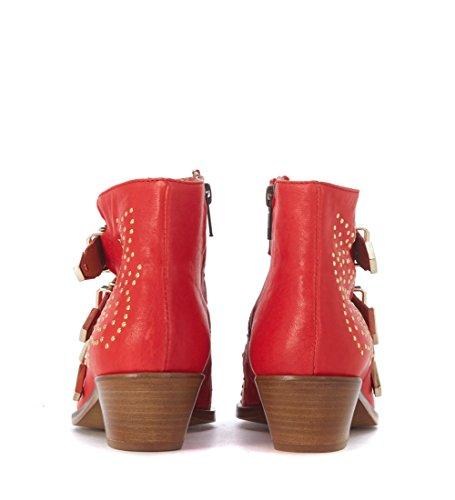 LEMARE Western-Stiefeletten Nappaleder Rot Rot