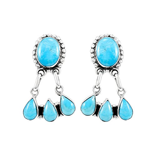 25 Sterling Silver & Genuine Turquoise (Select Style) (Chandelier) ()