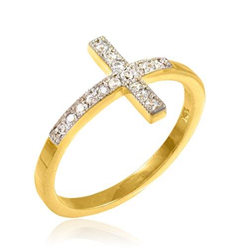 14k Gold Sideways Cross Ring with Diamonds
