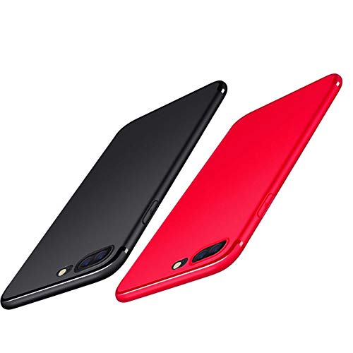 2Pack Compatible with iPhone 7 Plus 2016/iPhone 8 Plus 2017 Case,Soft TPU Matte Finish Coating Grip Ultra Thin Light Protective Scratch Resistant Naked Phone Texture Mobile Phone Cover-Black+red