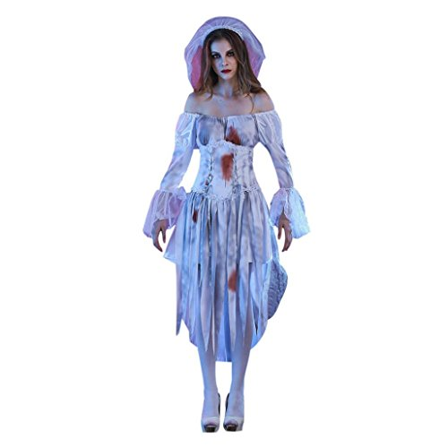Party Costume, Adult Womens White Corpse Bride Halloween Cosplay Party Costume (Corpse Bride Halloween Costume Cheap)