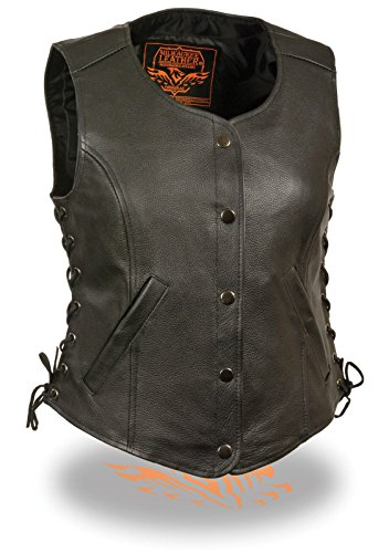Milwaukee Ladies Motorcycle Round Neck Leather Club Vest W/2 Gun Pockets Side Lace Snaps(2XL) by Milwaukee